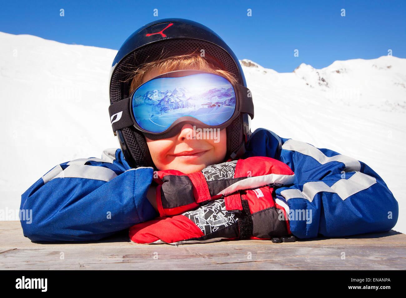 Poster boy maschere da sci vacanza Immagini Stock