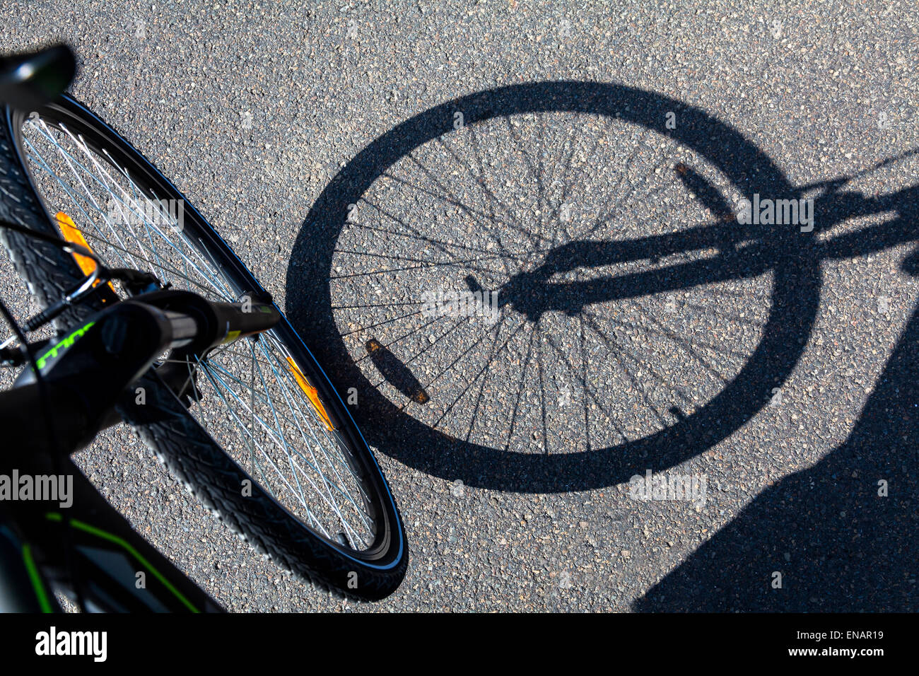 La ruota di bicicletta ombra Immagini Stock