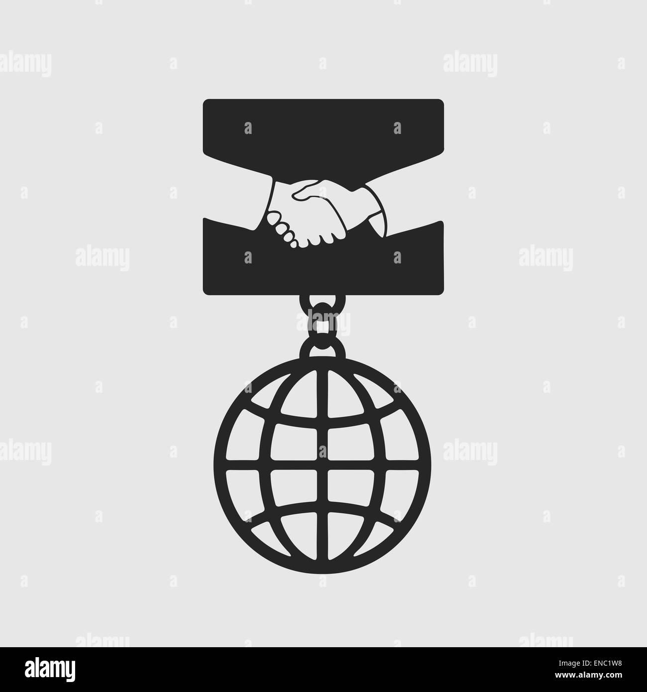 Medaglia simbolo di handshake Immagini Stock