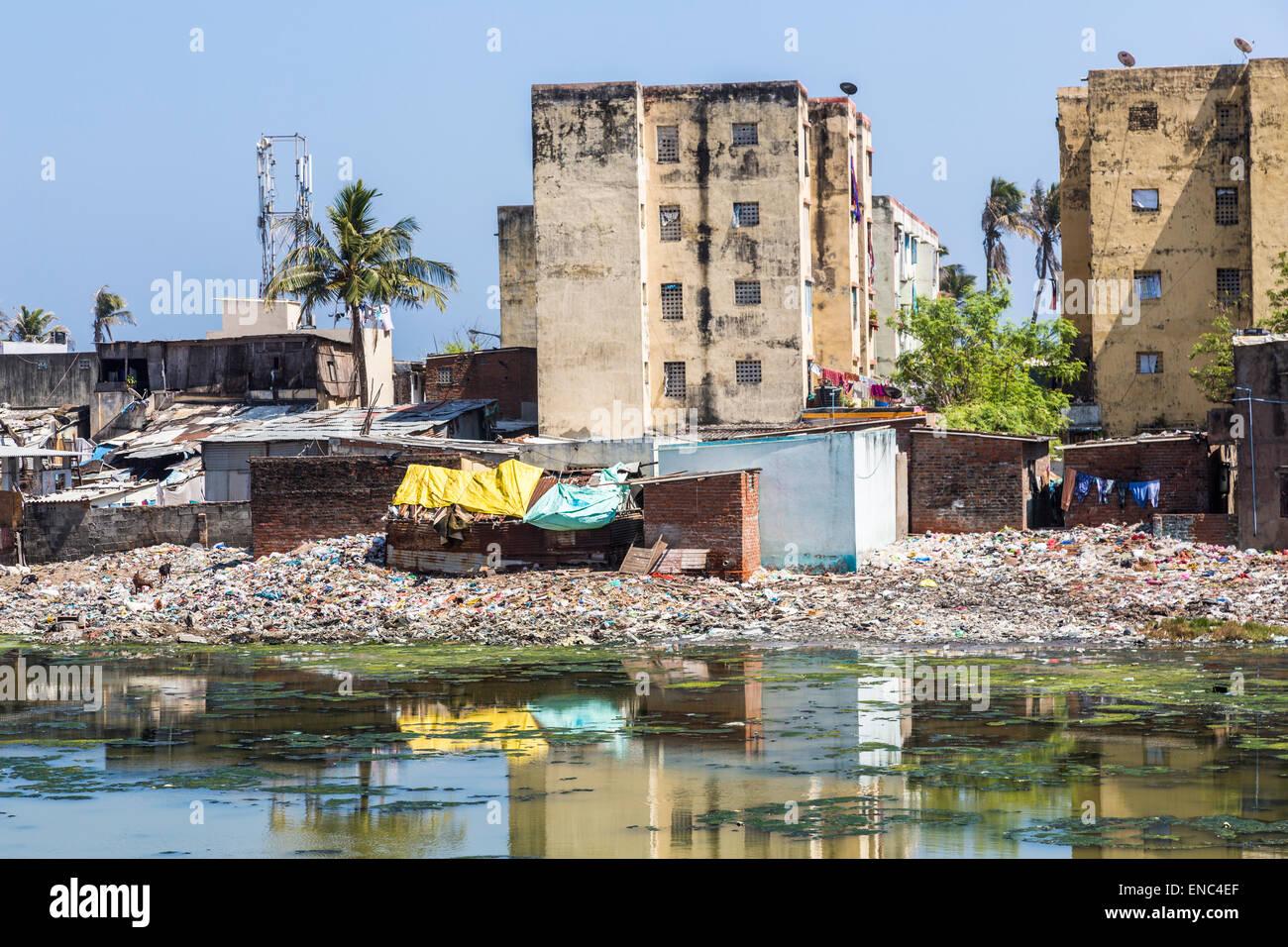 Baraccopoli sulle rive del inquinato Adyar estuario del fiume di Chennai, nello Stato del Tamil Nadu, India meridionale: Immagini Stock