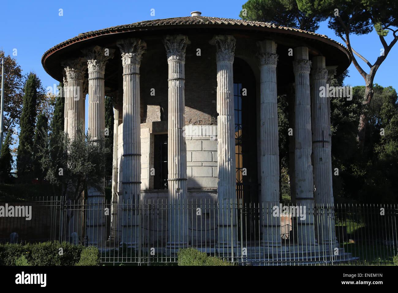 L'Italia. Roma. La circolare tempio di Ercole Vincitore (precedentemente pensato per essere un tempio di Vesta). Immagini Stock