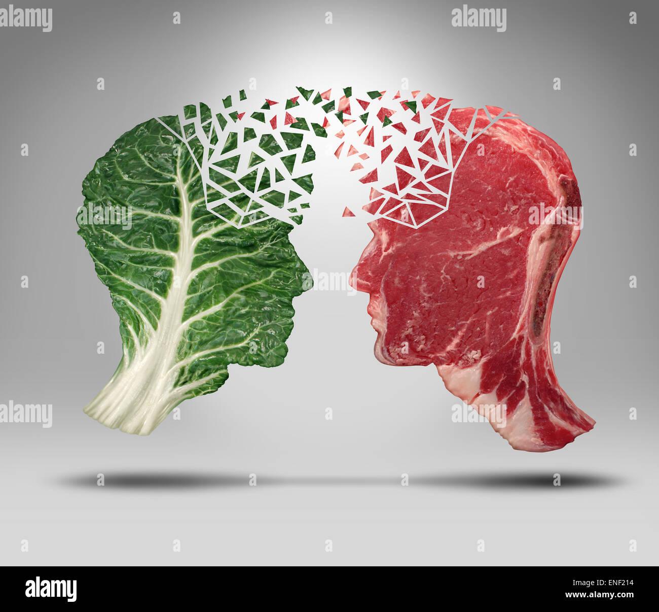 Informazioni alimentari e mangiare equilibrio di salute concetto di scambio relative a scelte con una testa umana Immagini Stock