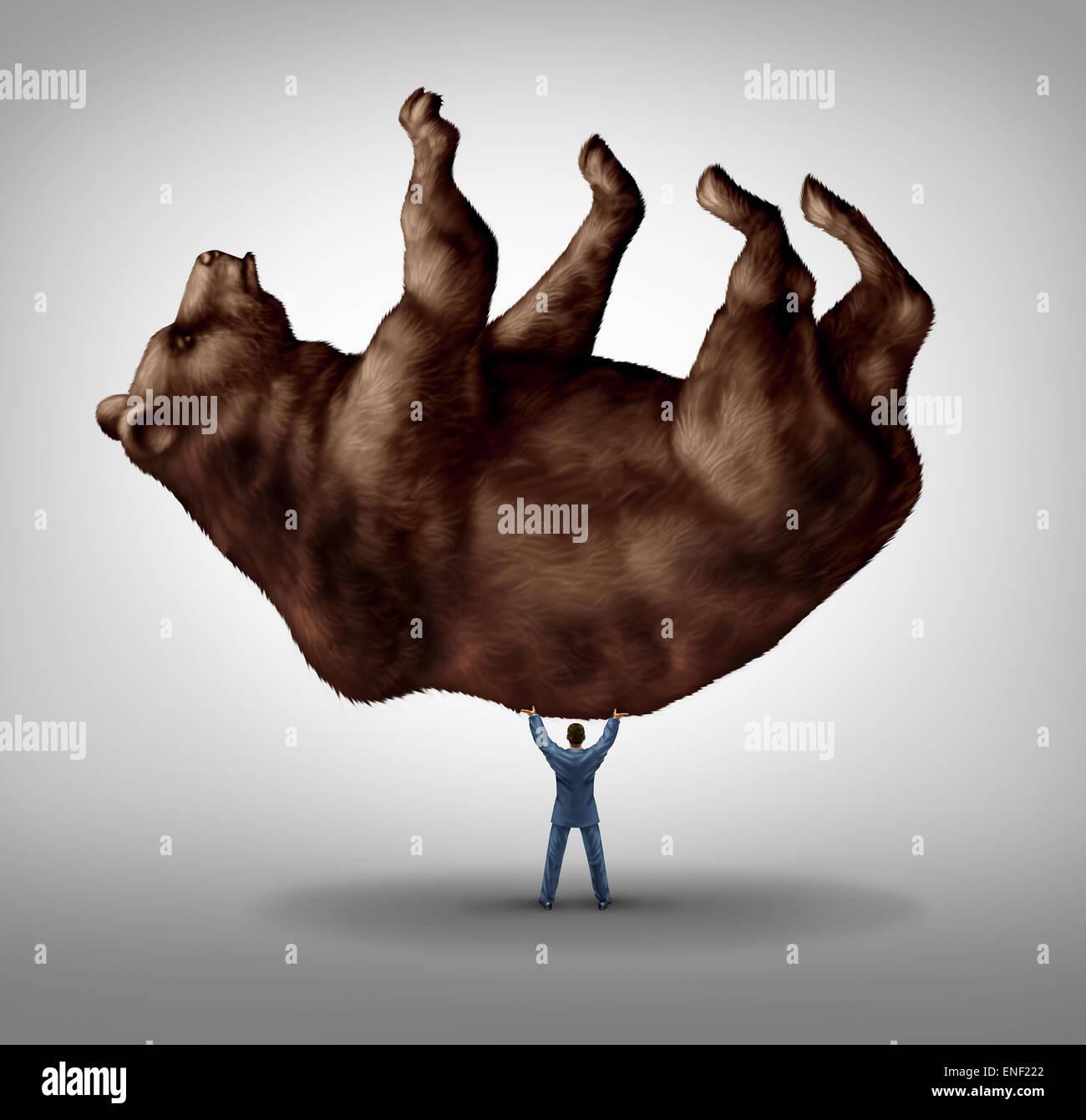 La vendita di azioni e di investire il pessimismo e financial business leadership come una recessione paura nozione Immagini Stock