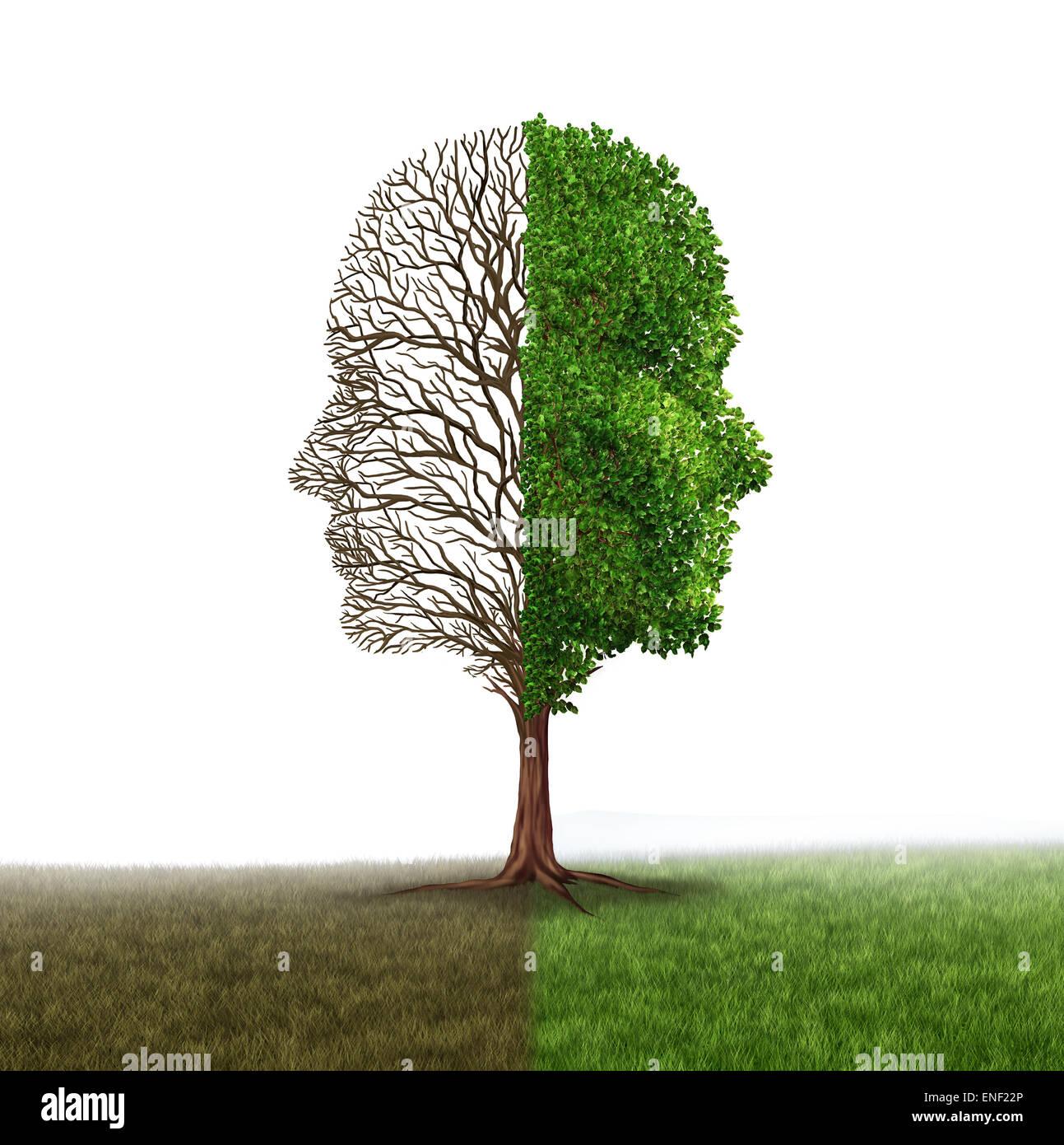 Emozioni umane e disturbo dell'umore come un albero a forma di due volti umani con una mezza vuota rami e il Immagini Stock