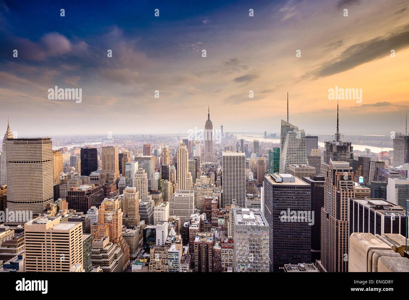 La città di New York, Stati Uniti d'America famoso al di sopra dello skyline di Manhattan. Immagini Stock
