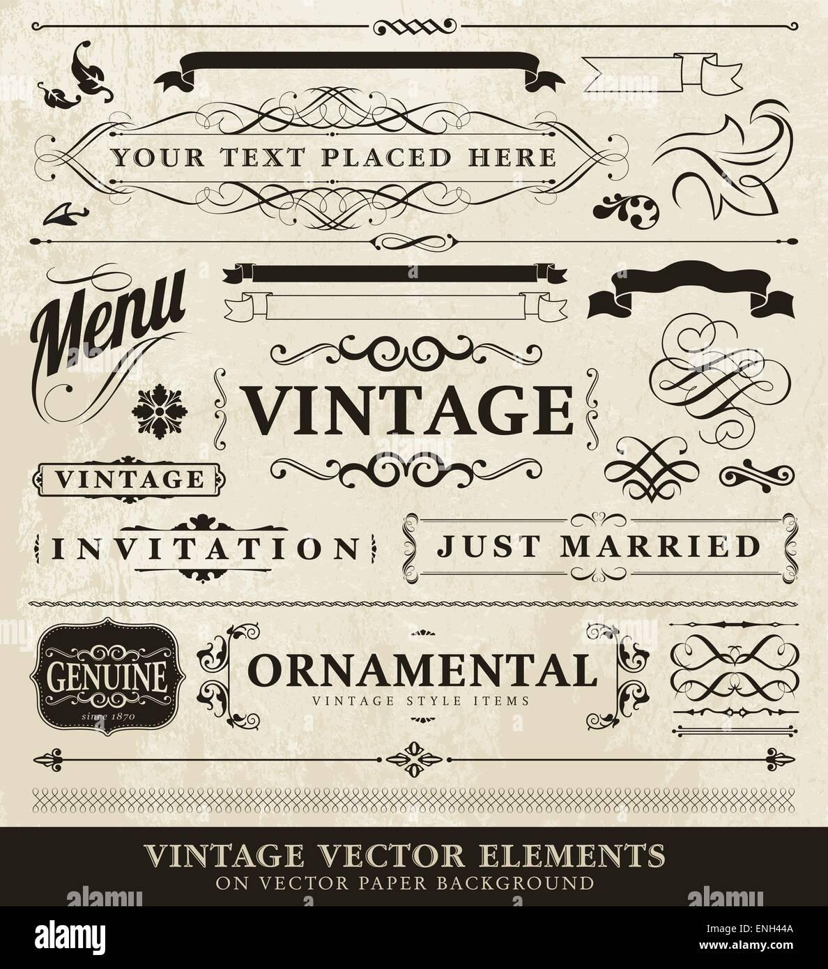 Vector vintage elementi di stile Immagini Stock