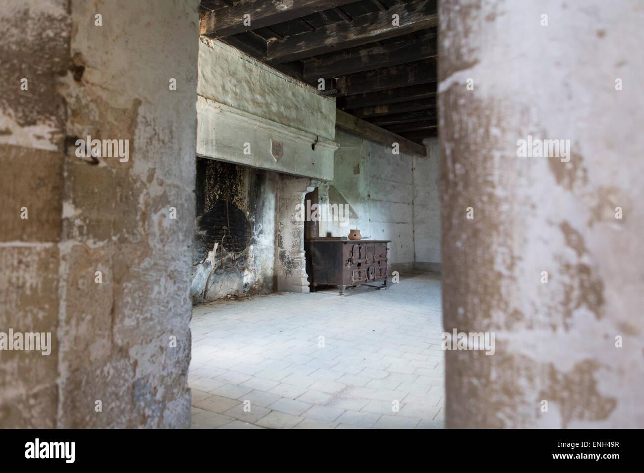 Camera con camino medievale e un giovane del fornello da cucina ...