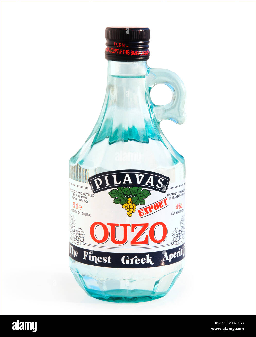 Una bottiglia di Ouzo greco Immagini Stock