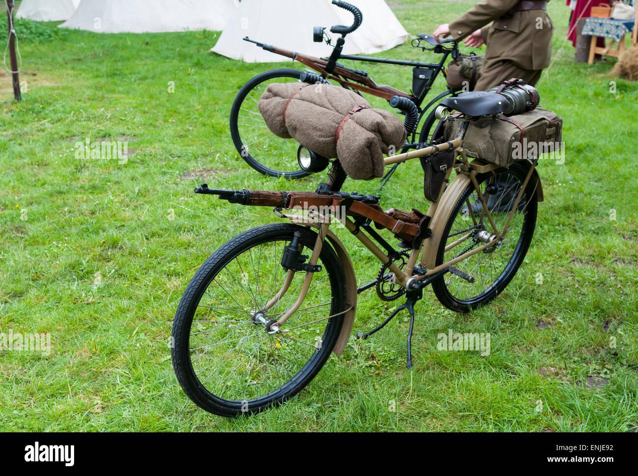 Vecchia moto militari utilizzati nella prima e nella seconda guerra mondiale Foto Stock