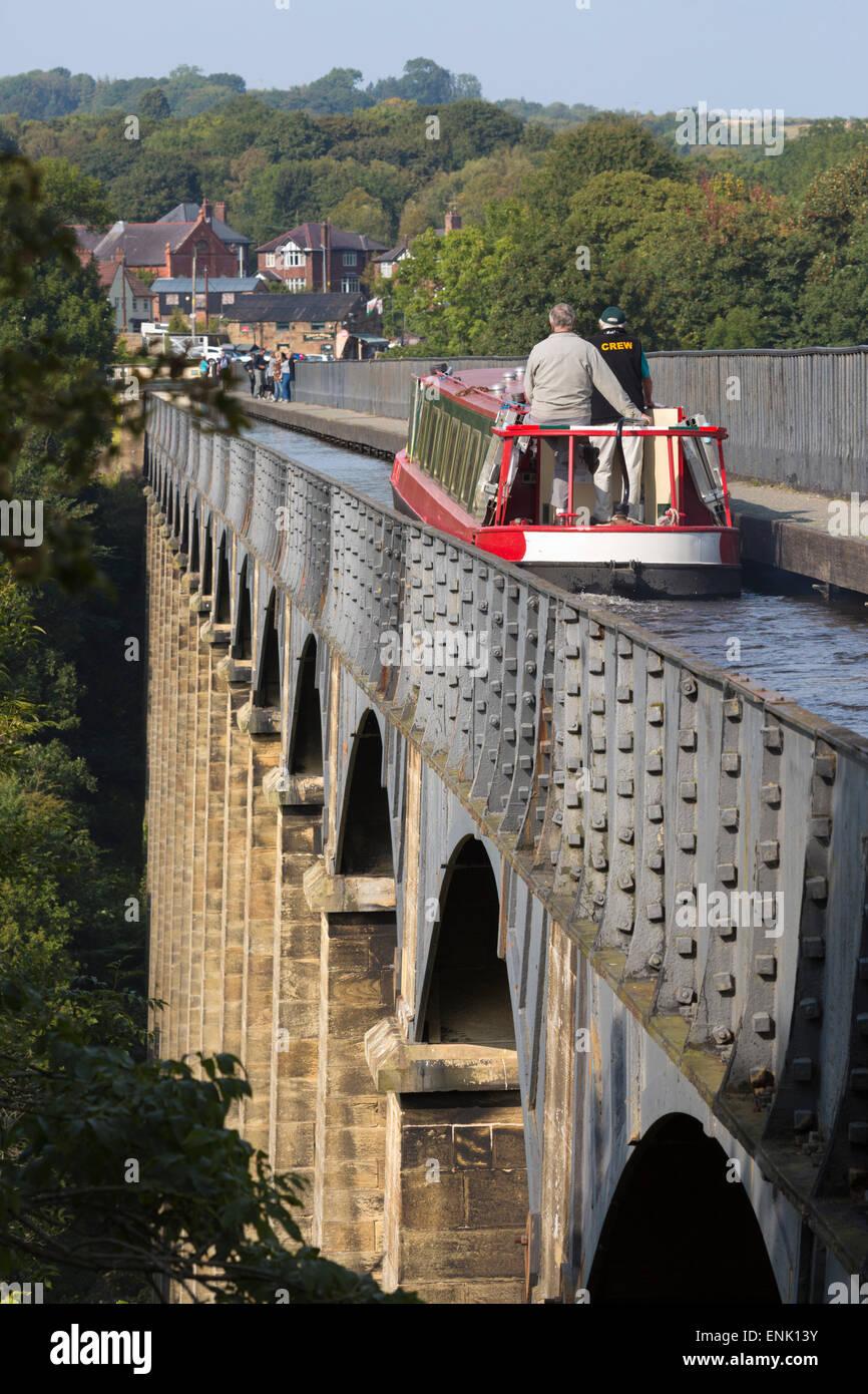 Acquedotto Pontcysyllte, costruito dal 1795 al 1805, l'UNESCO e l'Ellesmere Canal, Llangollen, Denbighshire, Immagini Stock