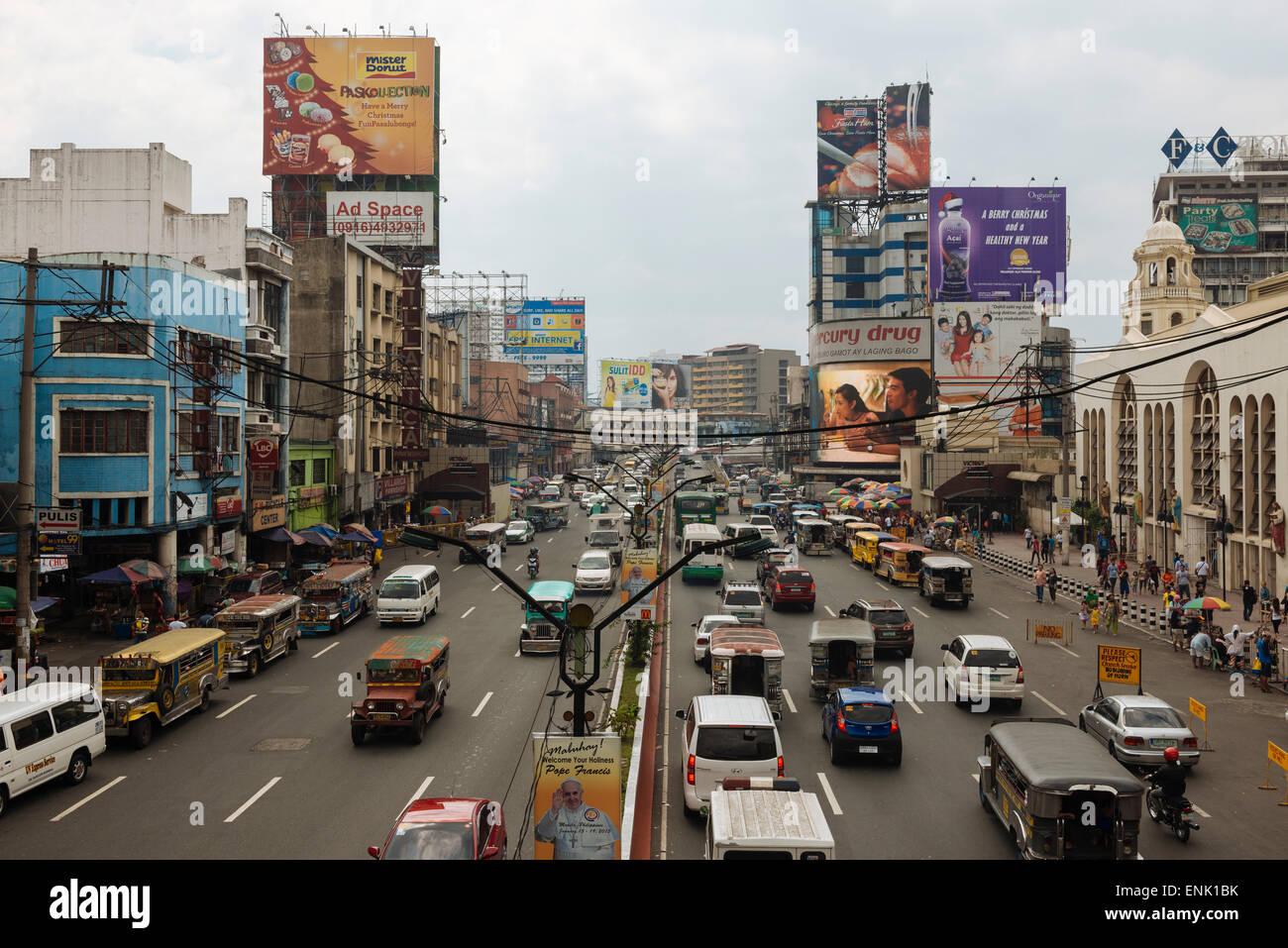 Quezon Boulevard, Quiapo, Manila, Filippine, Sud-est asiatico, in Asia Foto Stock