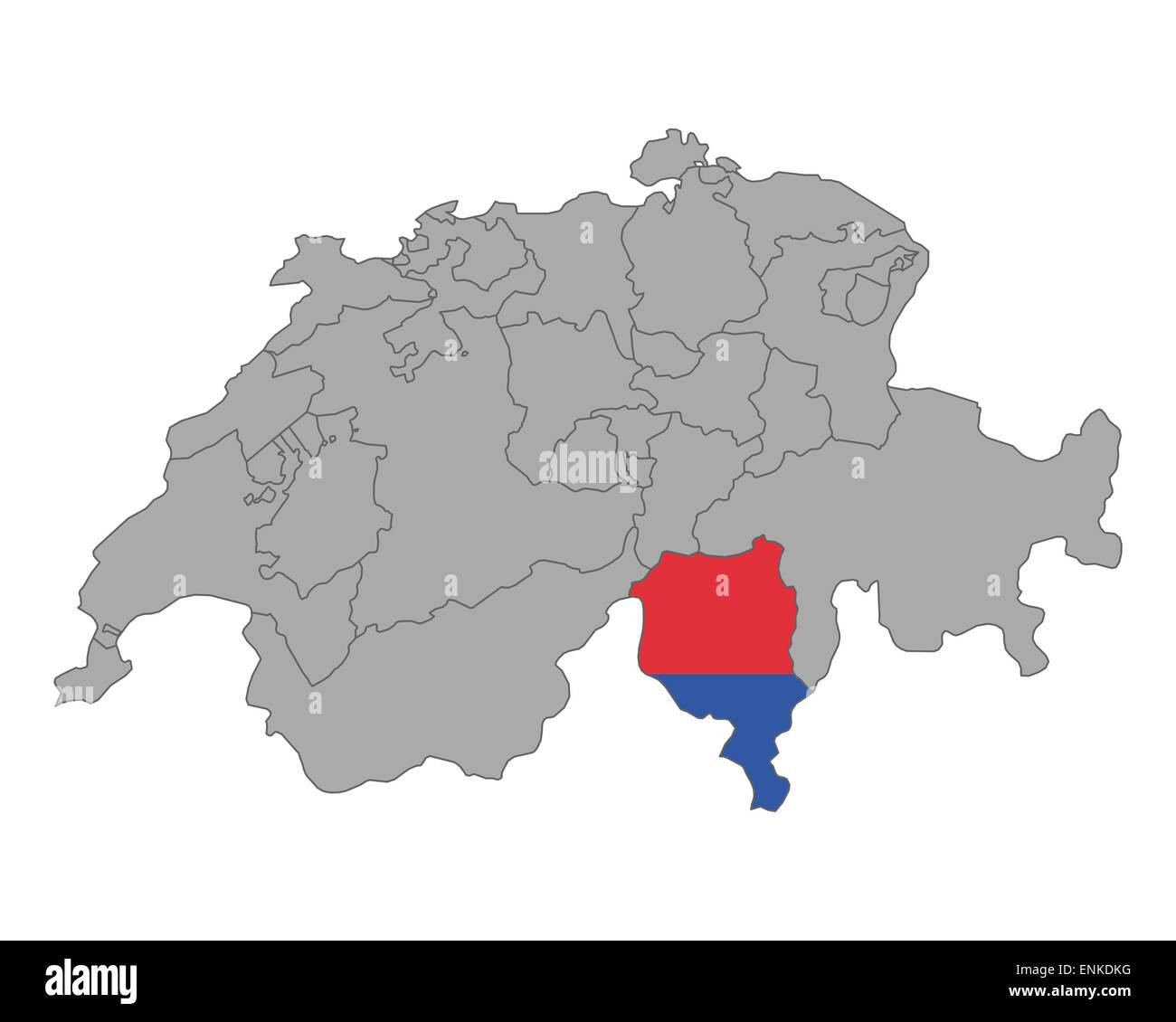 Cartina Ticino Svizzera.Cartina Della Svizzera Con La Bandiera Del Ticino Foto Stock Alamy