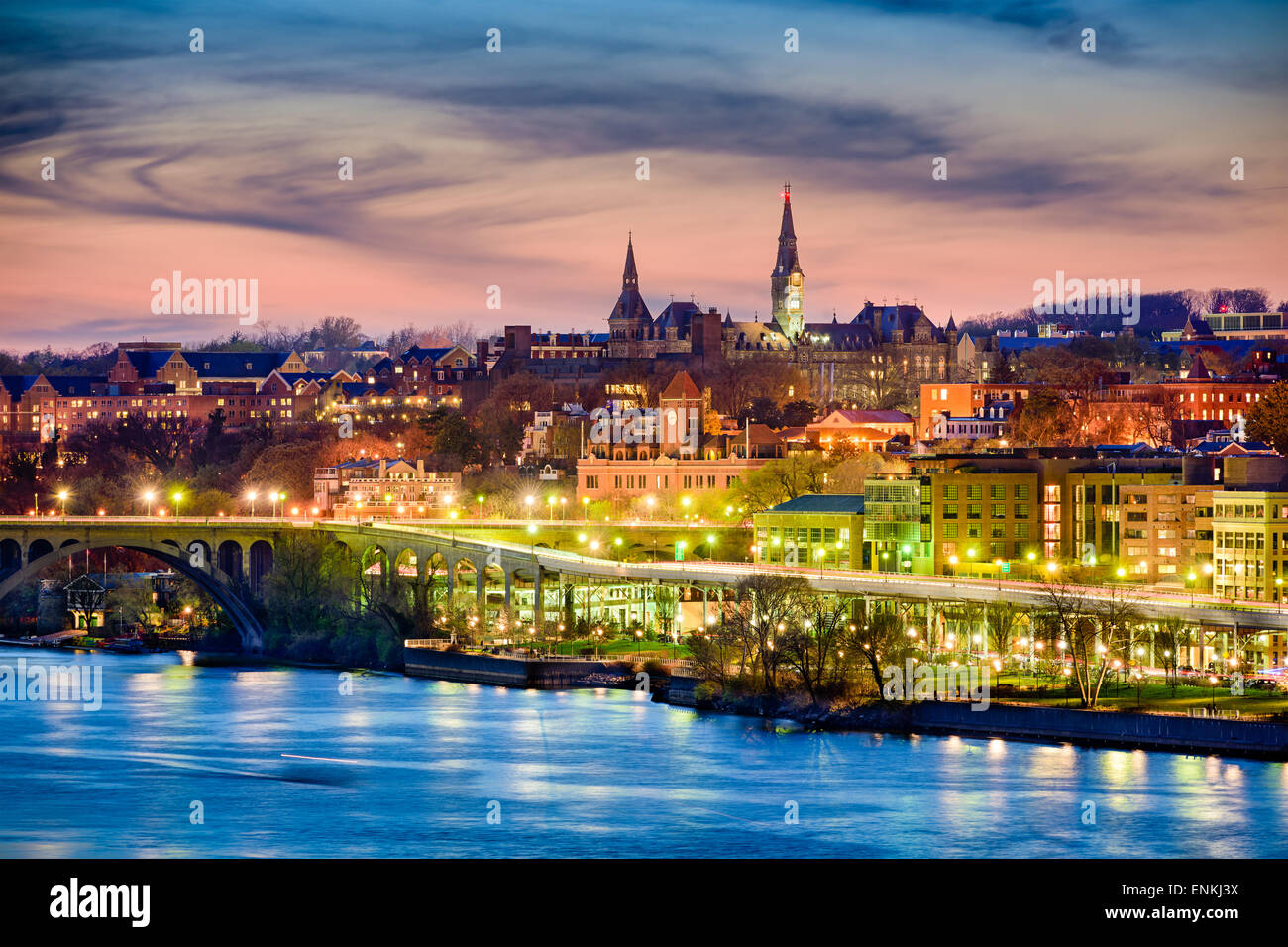 Georgetown, Washington DC skyline sul Fiume Potomac. Foto Stock