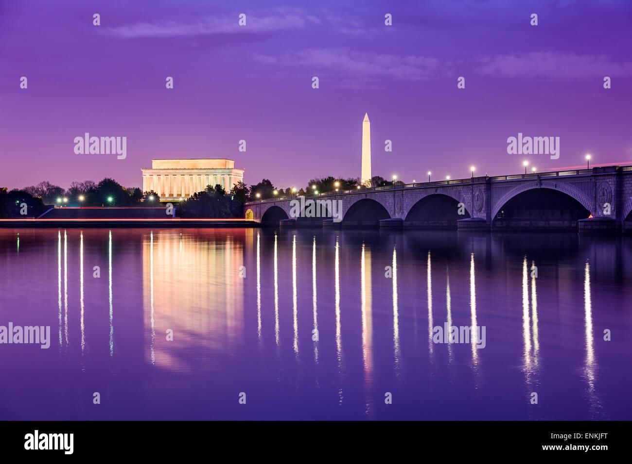 Washington, DC monumenti sul fiume Potomac. Immagini Stock