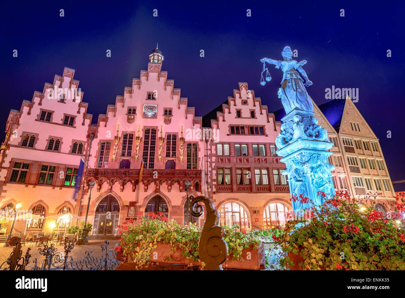 Francoforte, Tedesco dalla piazza della città vecchia. Immagini Stock