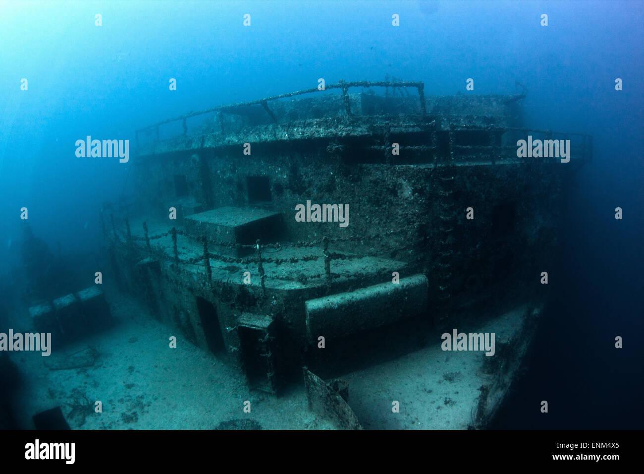 Il relitto del Spiegel Grove può essere trovato sul fondo off Key Largo, FL. Immagini Stock