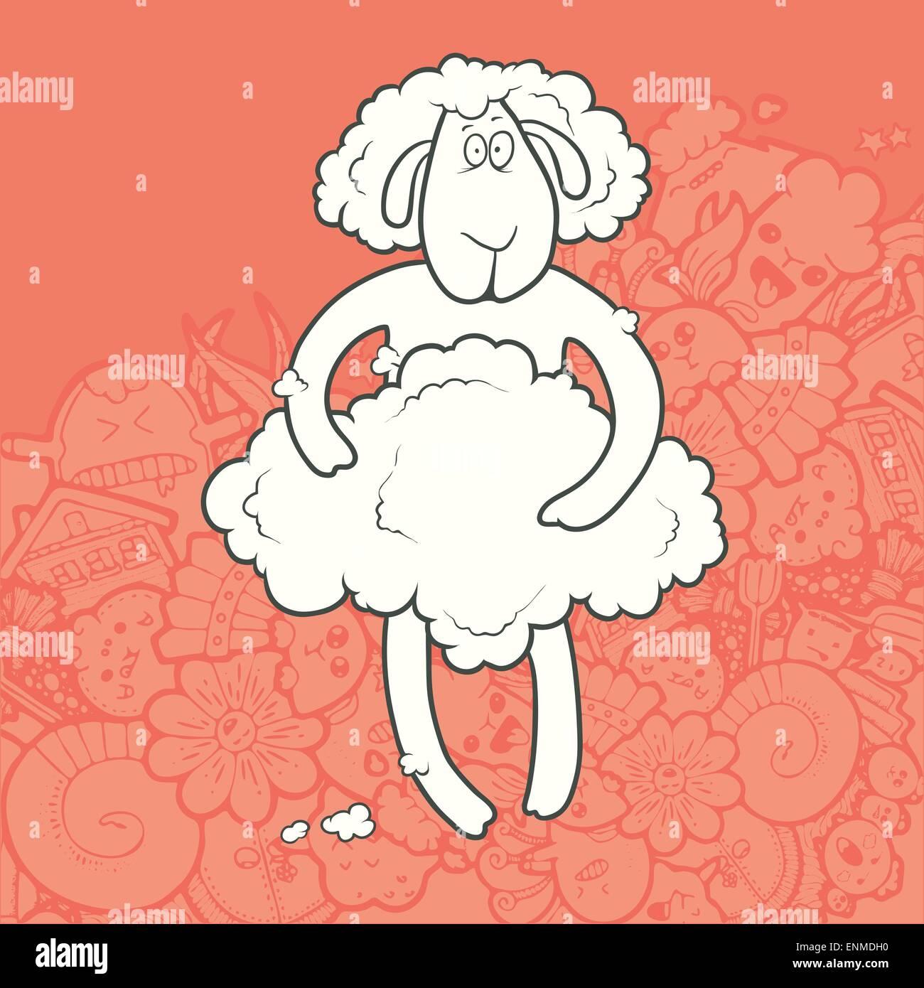 Illustrazione Vettoriale carino disegnato a mano agnello rasato trattenendo il suo cappotto. Biglietto di auguri Immagini Stock