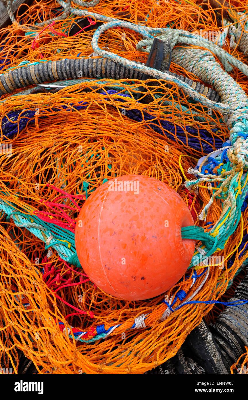 Le reti da pesca nel porto di Dunbar, Scotland, Regno Unito Immagini Stock