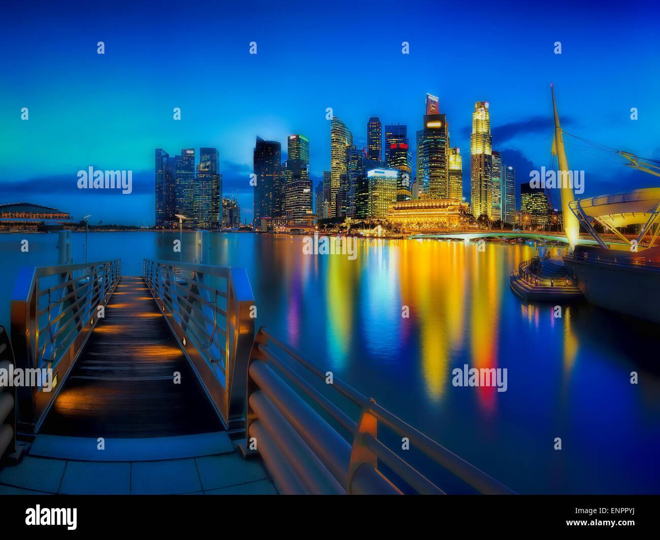 Lo skyline di Singapore Immagini Stock