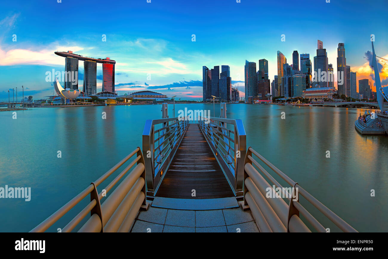 Lo skyline di Singapore Immagini Stock
