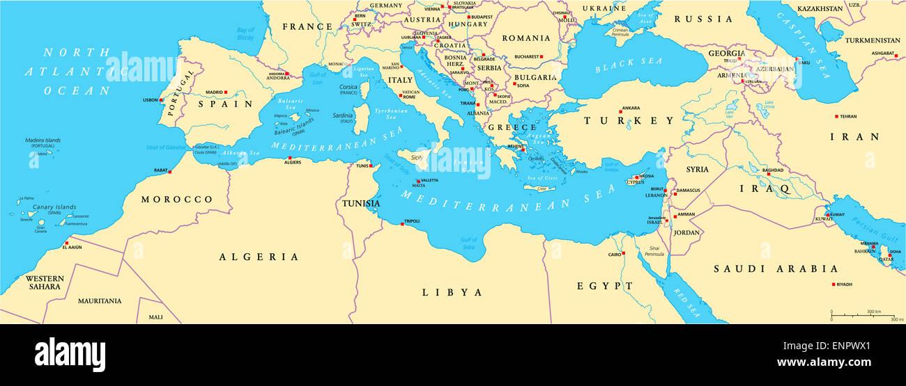 Cartina Politica Bacino Mediterraneo.Bacino Mediterraneo Mappa Politico Foto Stock Alamy