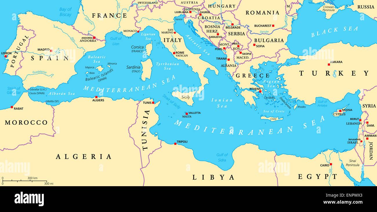 Cartina Geografica Del Mediterraneo.Mare Mediterraneo Regione Mappa Politico Foto Stock Alamy