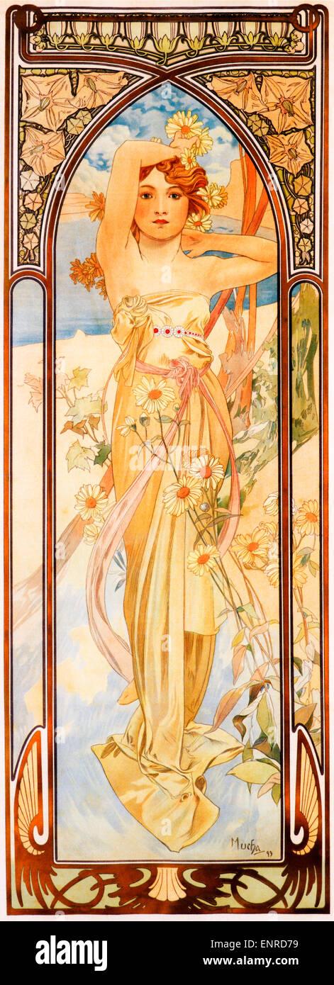 Mucha, la luminosità del giorno, 1899 Art Nouveau poster da artista ceco Alphonse Mucha per la serie che simboleggiano Immagini Stock
