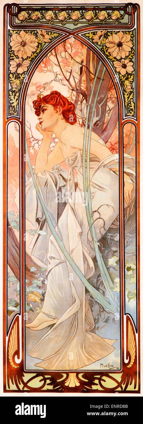 Mucha, serata Reverie, 1899 Art Nouveau poster da artista ceco Alphonse Mucha per la serie che simboleggiano gli Immagini Stock