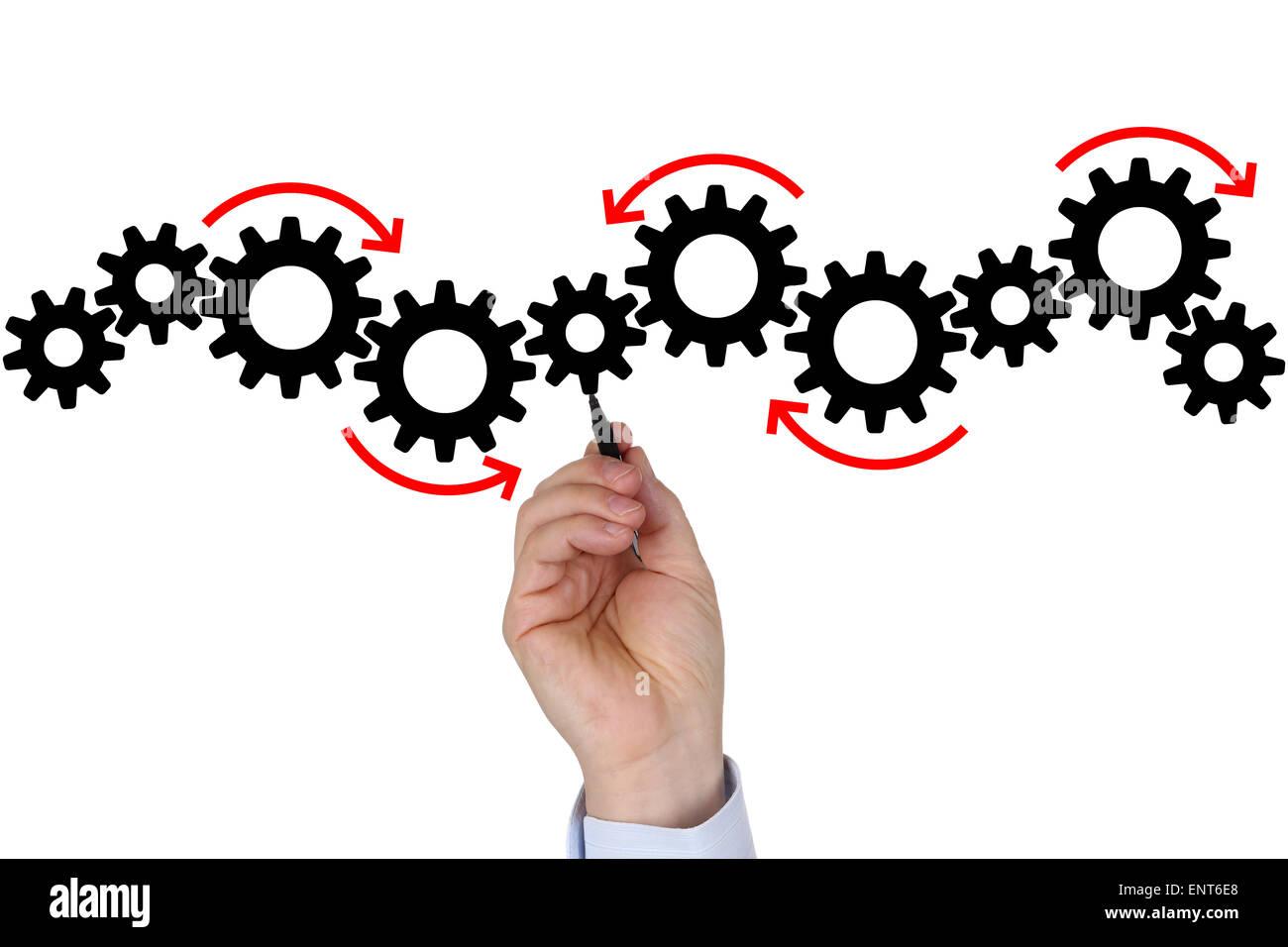 Imprenditore redazione di business plan per il successo di squadra, crescita e copyspace Immagini Stock