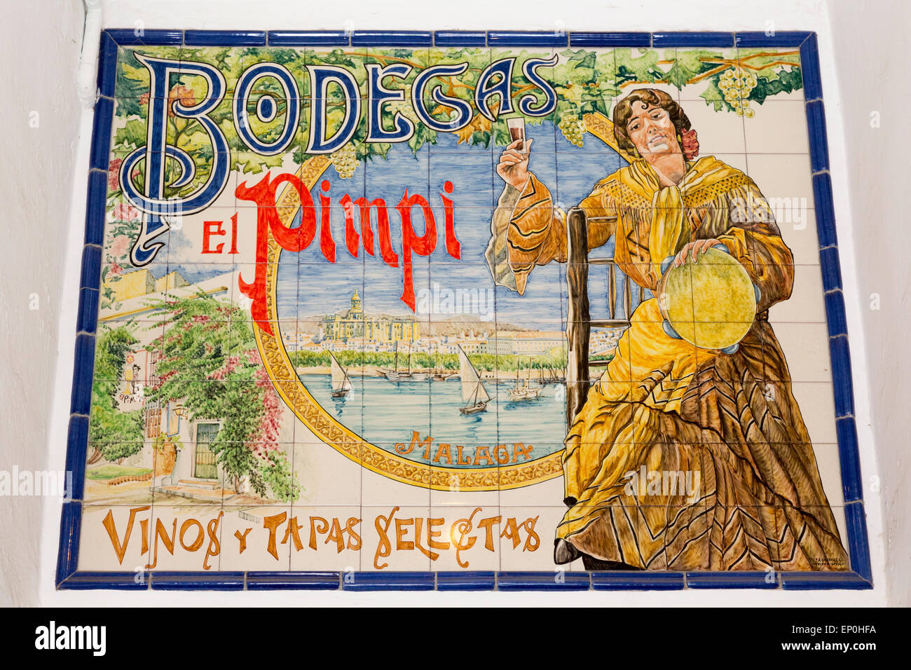 Piastrella ceramica pittura pubblicità il tipico bar-caffetteria, Bodegas El Pimpi in Calle Granada, Malaga, Immagini Stock