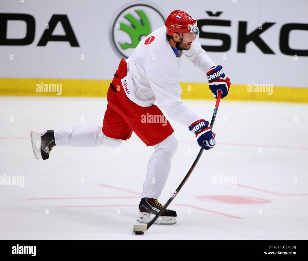 Ostrava, Repubblica Ceca. 13 Maggio, 2015. Ilya Kovalchuk, avanti di uomini russi della nazionale di hockey, pratiche Immagini Stock