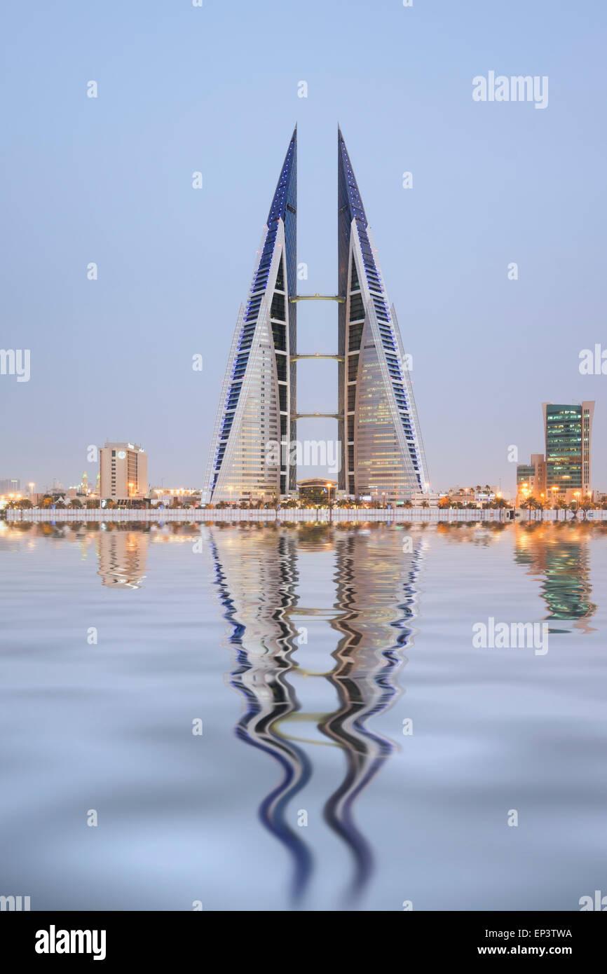 Vista del World Trade Center di Manama nel regno del Bahrain Immagini Stock