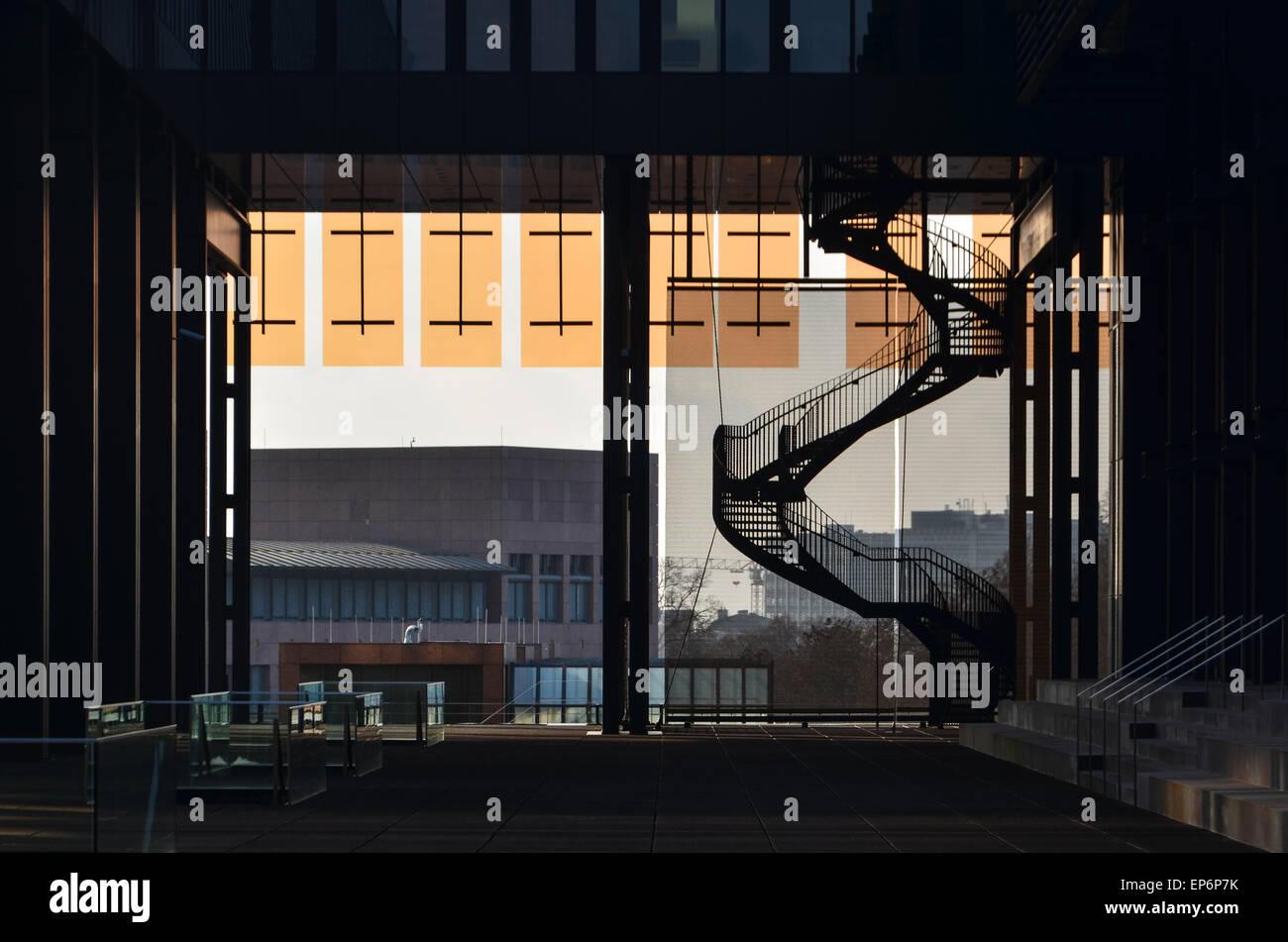 Architettura della Corte di giustizia dell'Unione europea, nel quartiere europeo, Kirchberg, Lussemburgo Immagini Stock