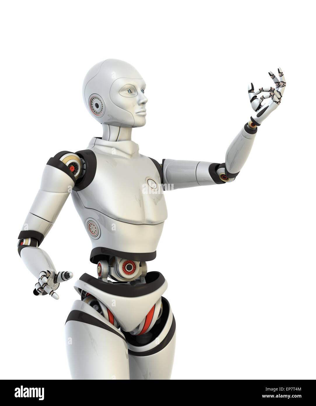Robot contiene qualcosa nella sua mano. Percorso di clipping incluso Immagini Stock