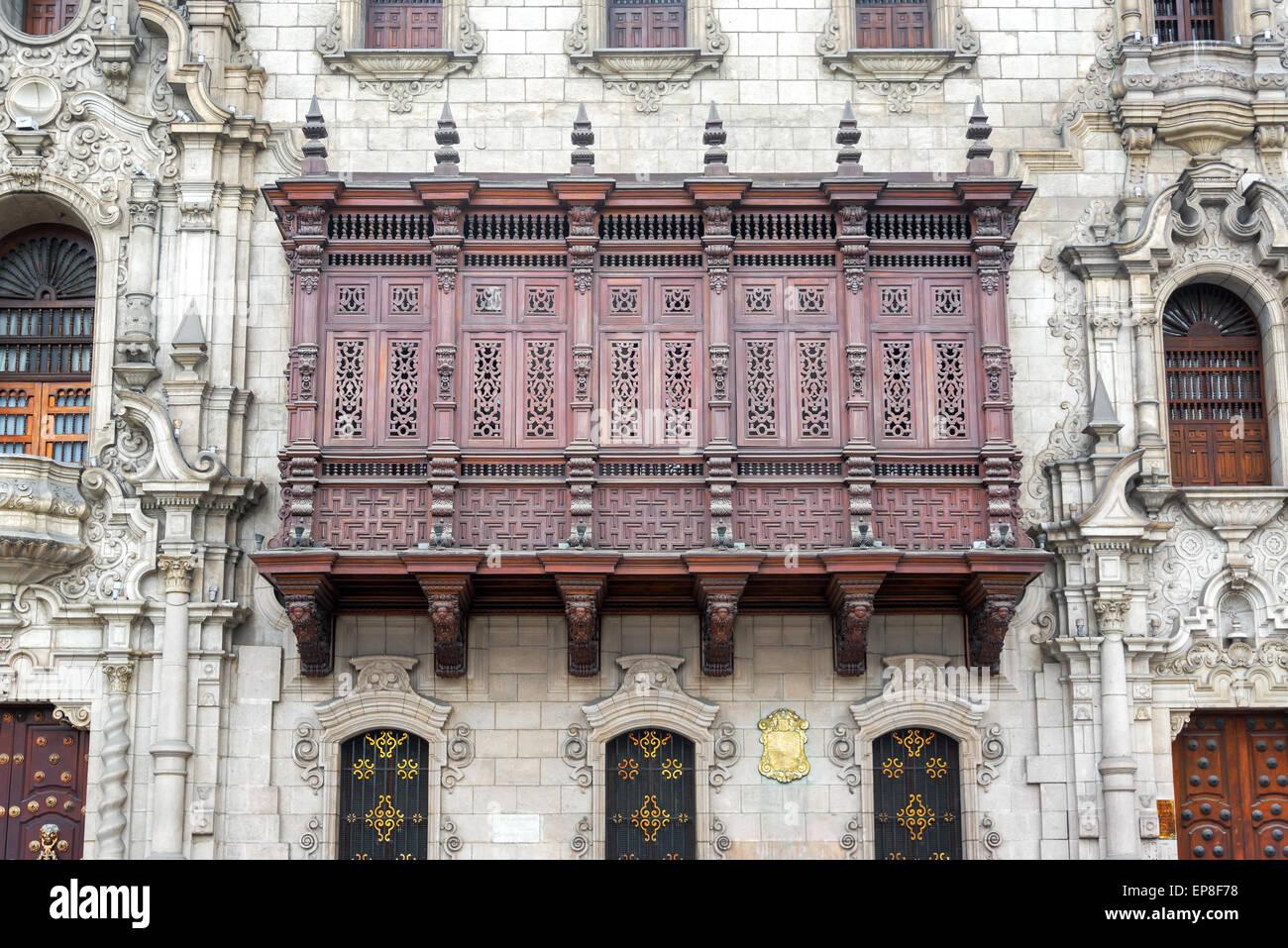 Architettura storica di Plaza Mayor nel centro storico di Lima, Perù Immagini Stock