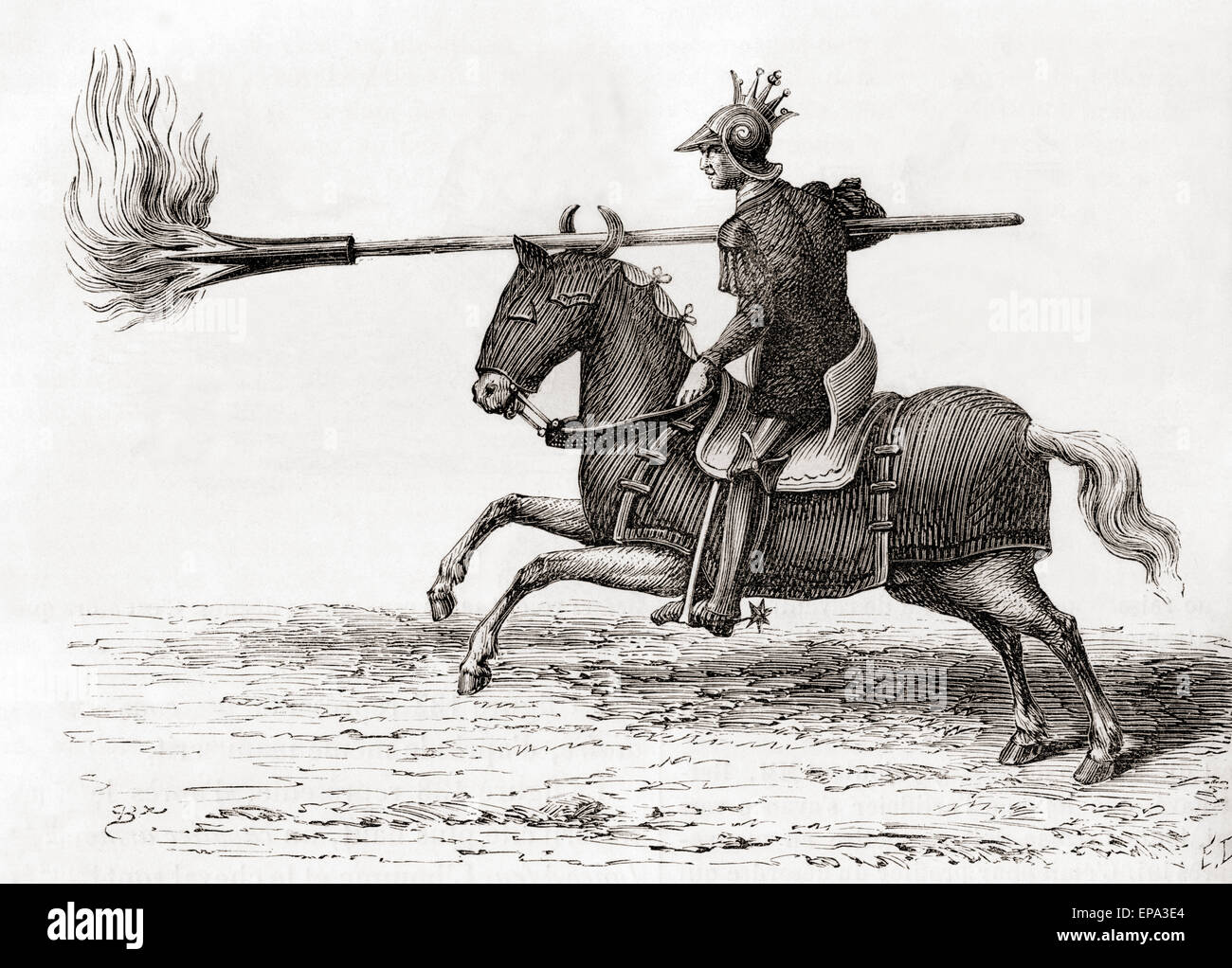 Un cavaliere medievale che porta una lancia di fuoco o incendio lancia uno della prima polvere da sparo armi nel Immagini Stock