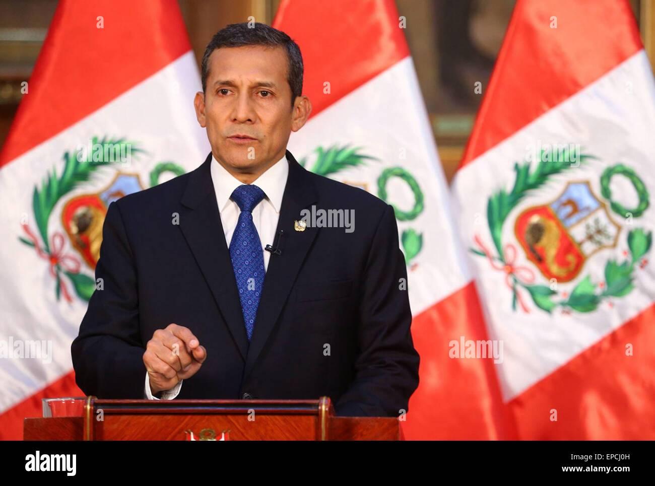 Lima. 15 Maggio, 2015. Il presidente del Perù Ollanta Humala affronta la nazione in Lima, Perù, il 15 Immagini Stock