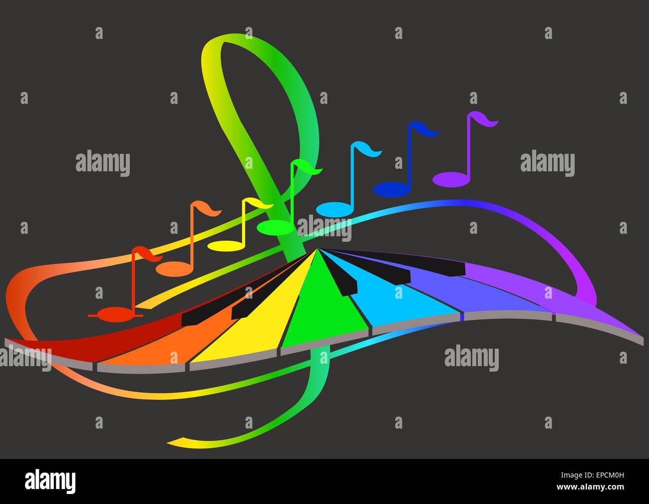 Note E Tastiera Sullo Sfondo Della Chiave Di Violino Foto Immagine
