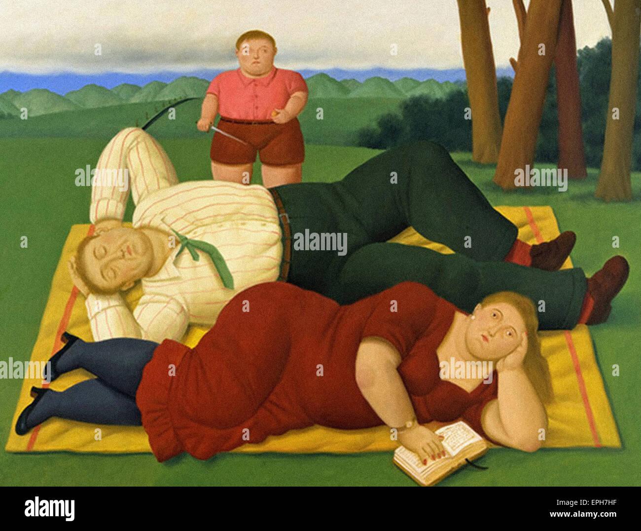 Fernando Botero nel lato del paese Immagini Stock