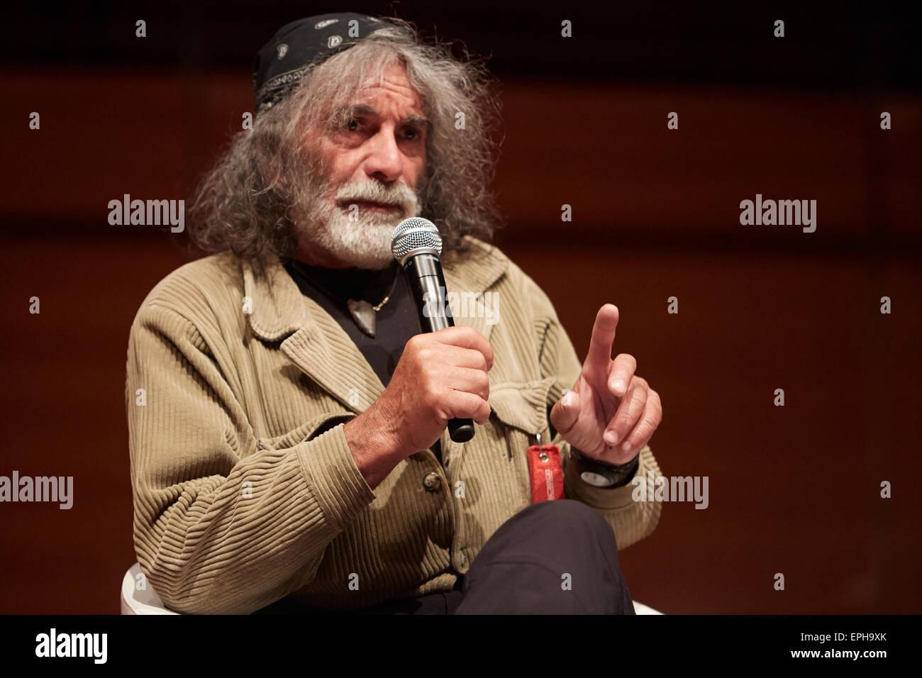Scrittore Mauro Corona al Salone del Libro, fiera internazionale del libro il 17 maggio 2015 a Torino, Italia Immagini Stock