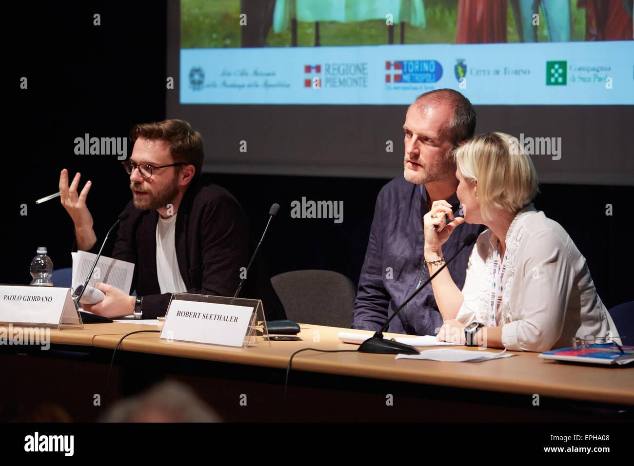 Robert Seethaler al Salone del Libro, fiera internazionale del libro il 17 maggio 2015 a Torino. Immagini Stock