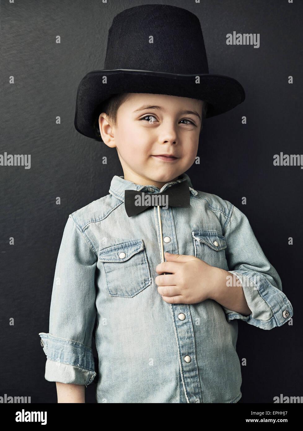 In stile vintage immagine di un simpatico ragazzo Immagini Stock