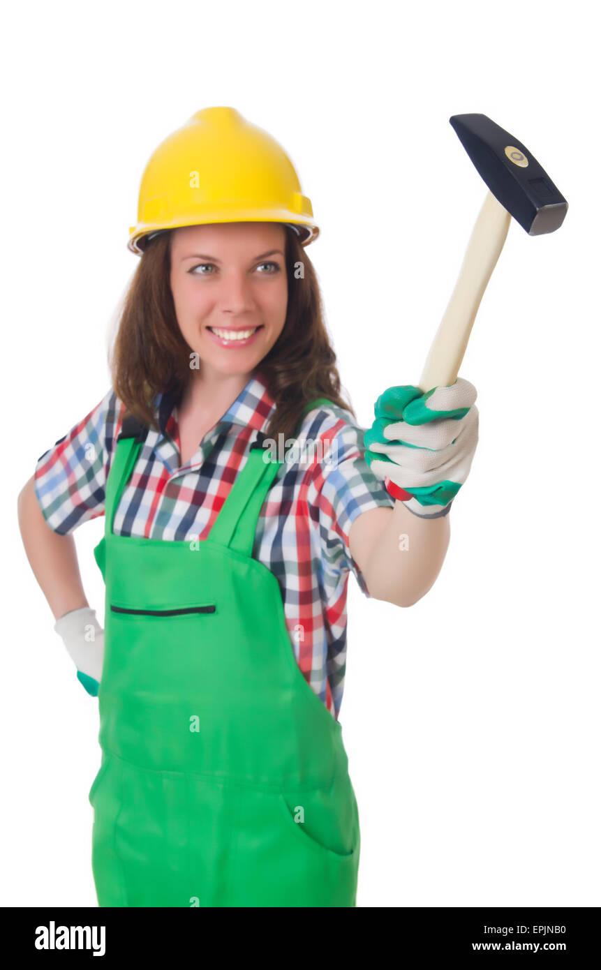 Giovane donna con il martello su bianco Immagini Stock