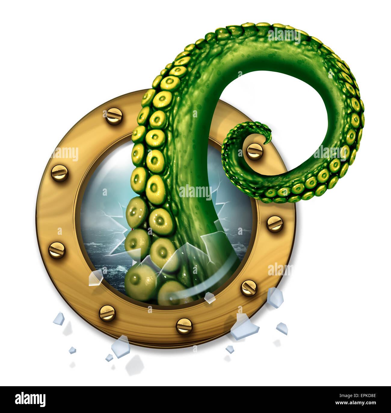 Il Mostro Marino nozione come un pauroso tentacolo verde creatura rottura del braccio attraverso il vetro di una Immagini Stock