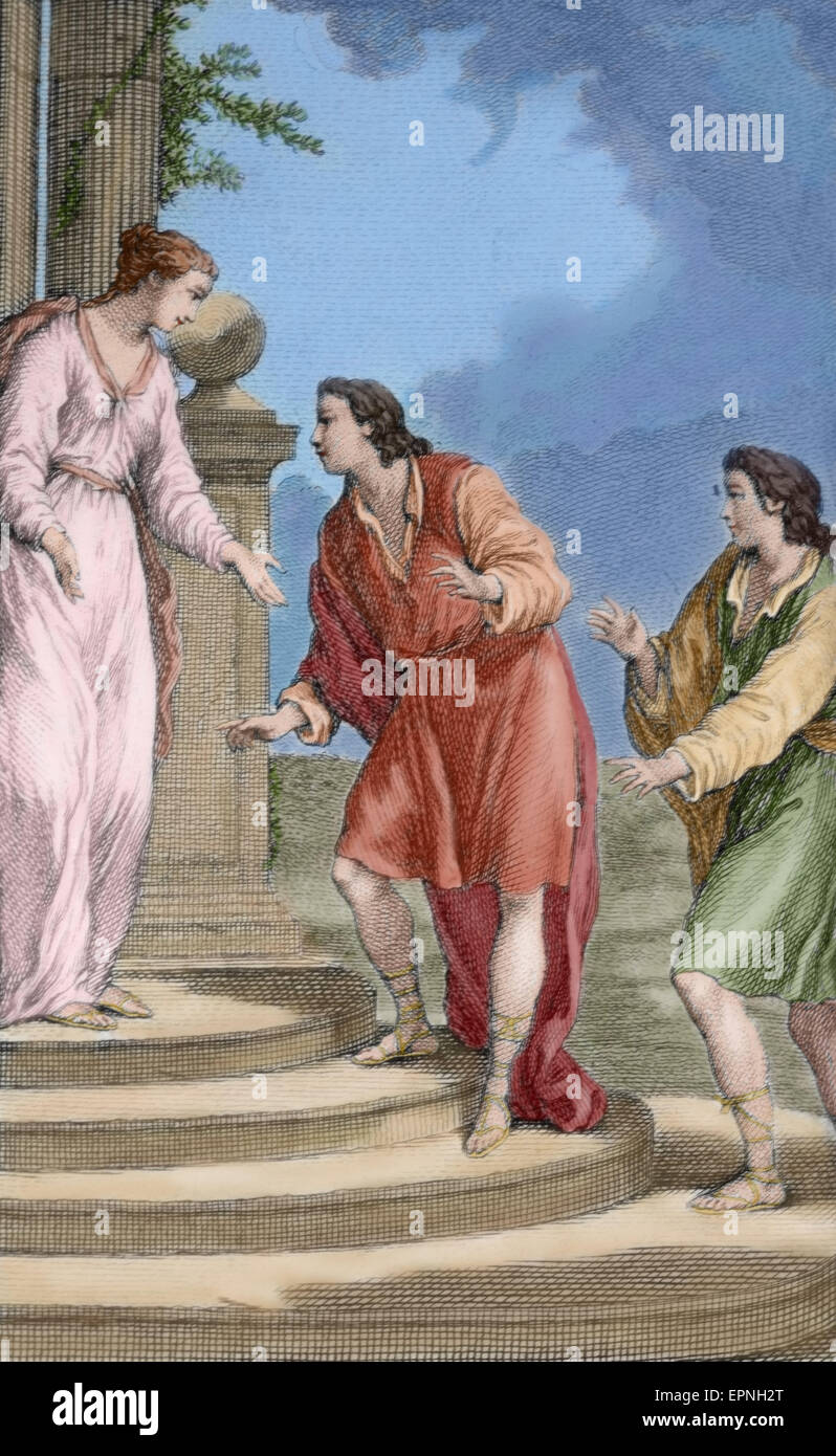 Titus Maccius Plauto (250-184). Il commediografo latino. Incisione di le sue commedie. Parigi, 1759. Colorati. Immagini Stock