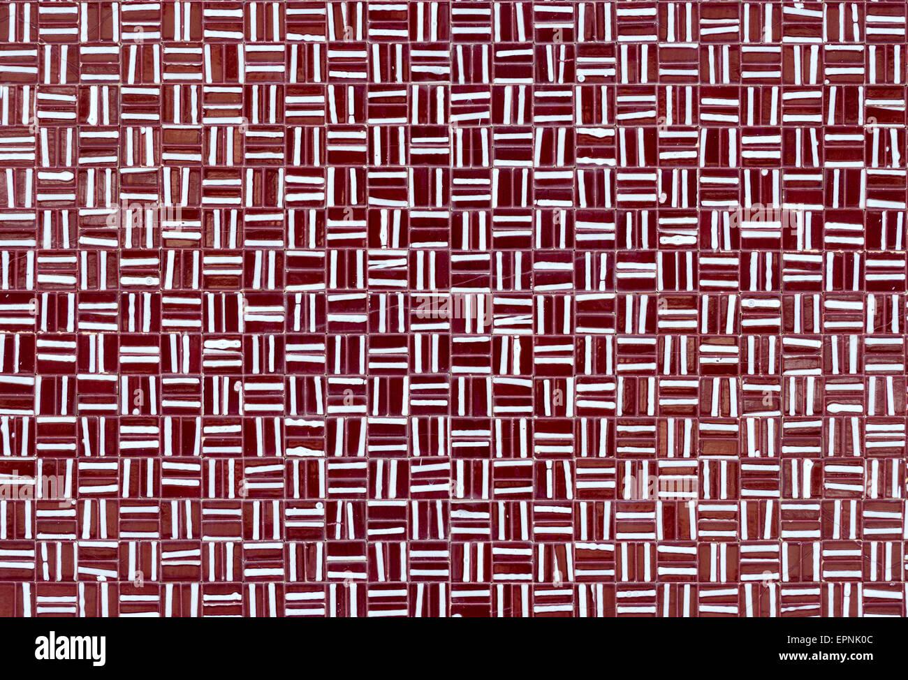 Rosso e bianco delle piastrelle quadrate come sfondo con linee
