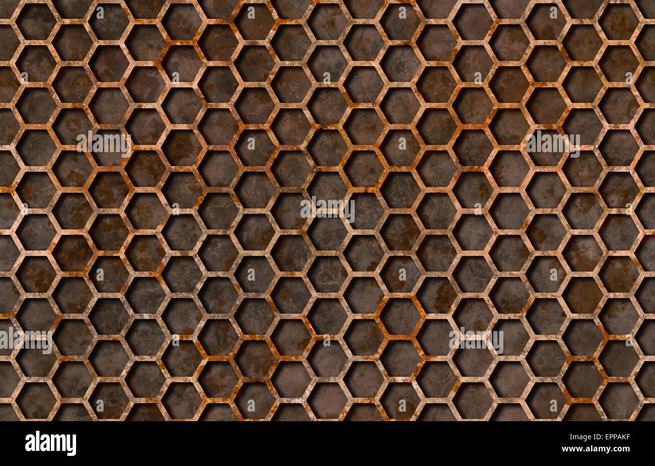 Rusty pattern esagonale grattugiare la texture di sfondo