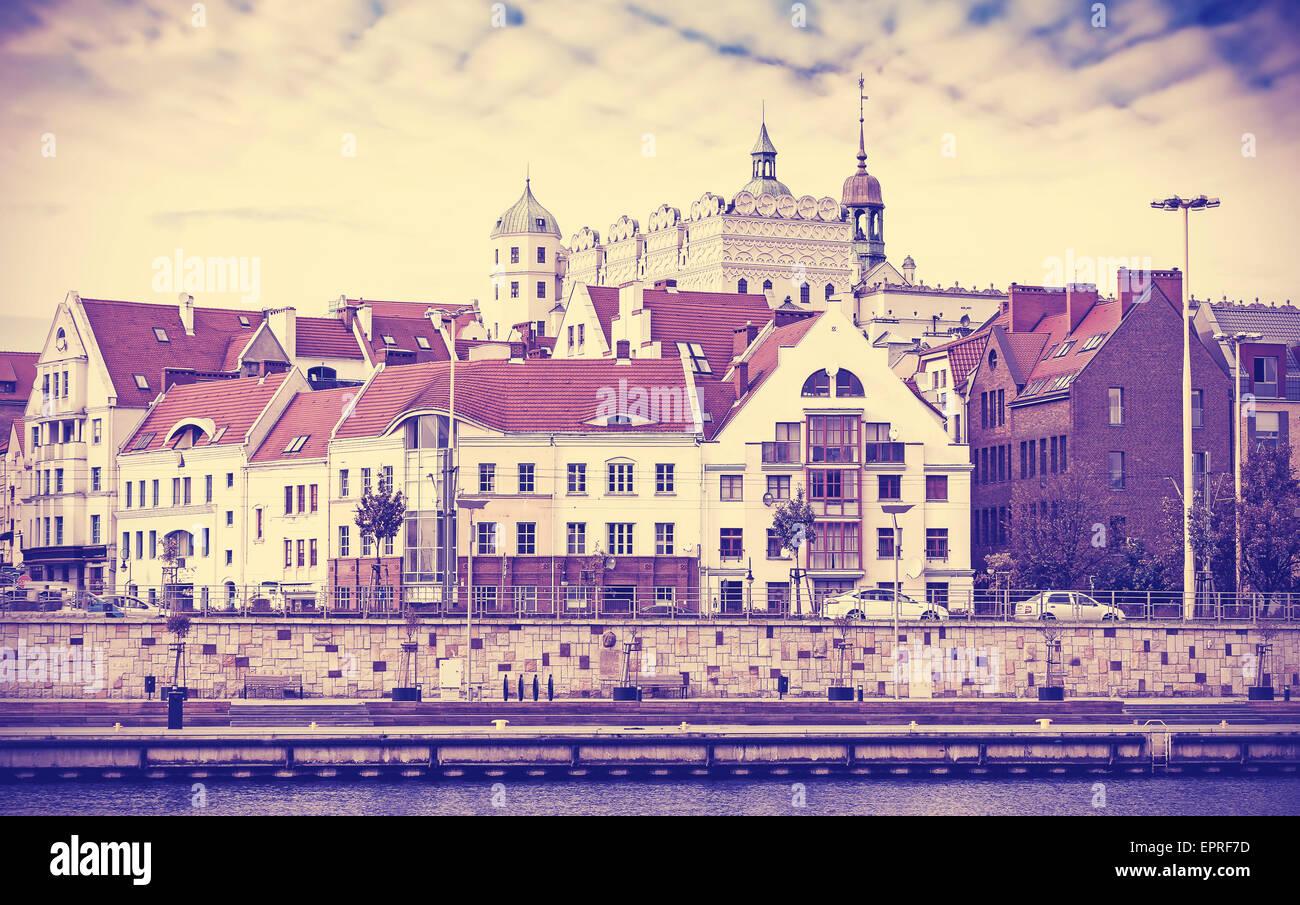 Vintage foto dai toni di Szczecin (Stettino) waterfront, Polonia. Immagini Stock