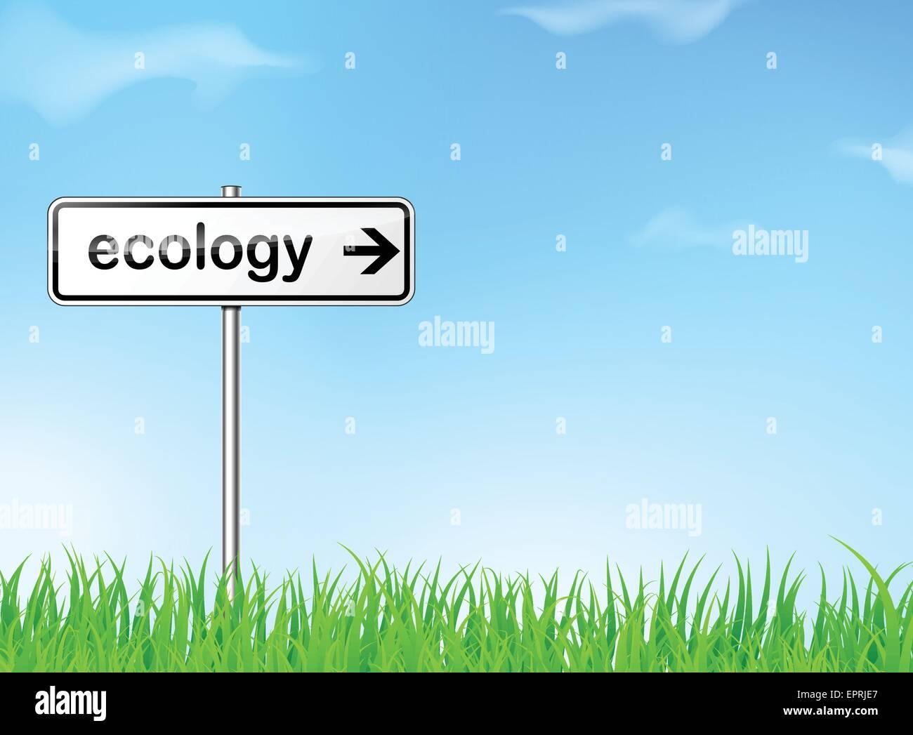 Illustrazione di astratta ecologia cartello stradale direzione Immagini Stock