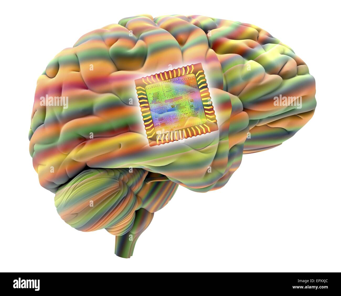 Intelligenza artificiale e cibernetica, immagine concettuale. Questa immagine di un chip per computer, sovrapposti Immagini Stock